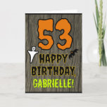 [ Thumbnail: 53rd Birthday: Spooky Halloween Theme, Custom Name Card ]