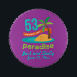 """53rd Wedding Anniversary Funny Gift For Her Candy Tin<br><div class=""""desc"""">This fun """"53 years of paradise"""" gift is a great gift idea for her on your anniversary. Celebrate 53 Years Together with these 53rd Anniversary gifts.</div>"""