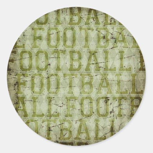 5417_football SPORTS TYPOGRAPHY FOOTBALL GREENS TE Round Sticker