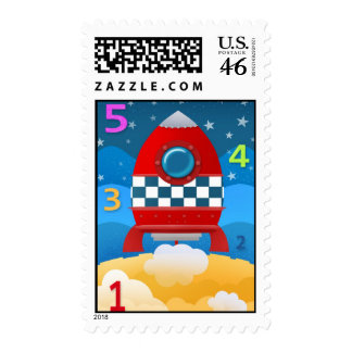 54321 blast off - US postage stamps