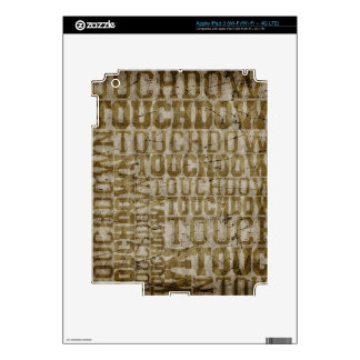 5465_sports TOUCHDOWN TYPOGRAPHY FOOTBALL EXPRESSI Skin For iPad 3