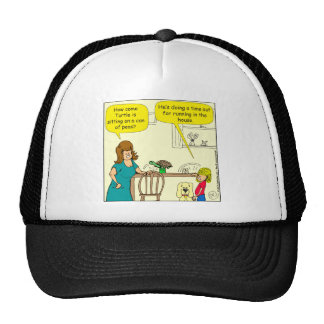 547 turtle time out cartoon trucker hat