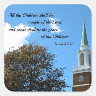 54:13 de Isaías enseñarán todos thy niños… Pegatina Cuadrada