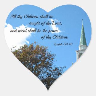 54:13 de Isaías enseñarán todos thy niños… Pegatina En Forma De Corazón