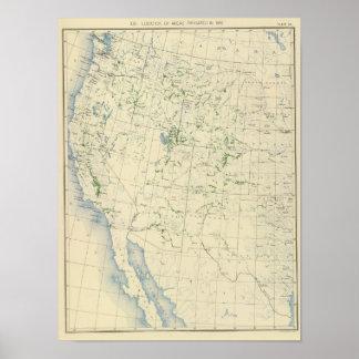 54 áreas irrigaron 1889 póster
