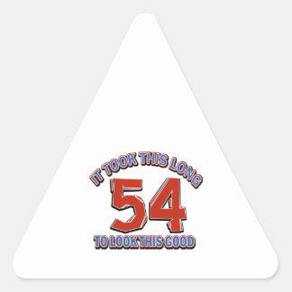 54 birthday design triangle sticker