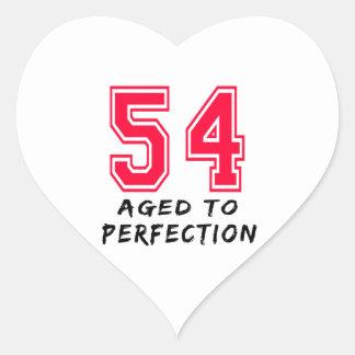 54 envejeció al diseño del cumpleaños de la calcomanía de corazón personalizadas