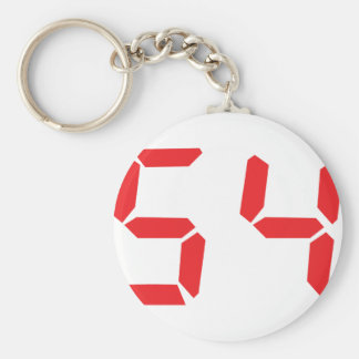 54 fifty-four red alarm clock digital number basic round button keychain