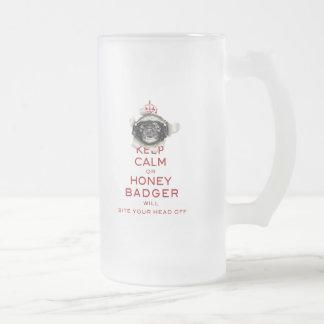 [54] Keep Calm or Honey Badger… Frosted Glass Beer Mug