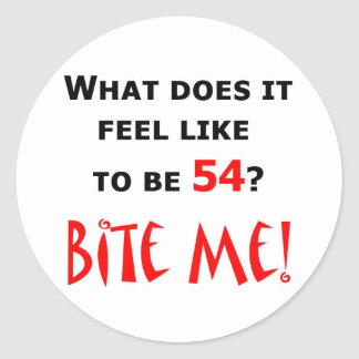 ¡54 muérdame! pegatina redonda