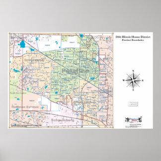 54.o Distrito de la casa de Illinois - línea detal Impresiones