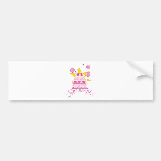 54 Year Old Birthday Cake Bumper Sticker