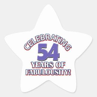 54 year old birthday design star sticker