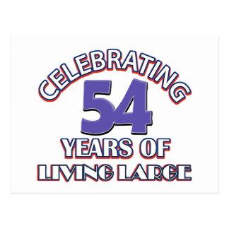 54 years of living large birthday designs postcard