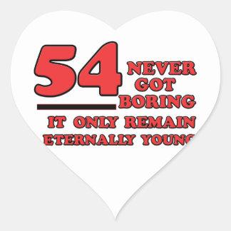 54 years Old birthday designs Heart Sticker