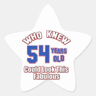 54 years Old birthday designs Star Sticker
