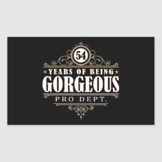 54th Birthday (54 Years Of Being Gorgeous) Rectangular Sticker