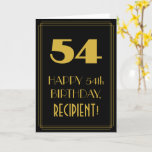 "[ Thumbnail: 54th Birthday – Art Deco Inspired Look ""54"" & Name Card ]"