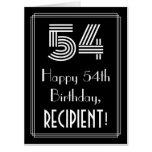 "[ Thumbnail: 54th Birthday — Art Deco Inspired Look ""54"" + Name Card ]"