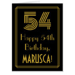 "[ Thumbnail: 54th Birthday: Art Deco Inspired Look ""54"" + Name Card ]"