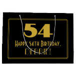 "[ Thumbnail: 54th Birthday — Art Deco Inspired Look ""54"" & Name Gift Bag ]"