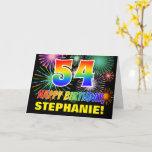 [ Thumbnail: 54th Birthday: Bold, Fun, Fireworks, Rainbow 54 Card ]