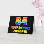 [ Thumbnail: 54th Birthday: Bold, Fun, Simple, Rainbow 54 Card ]