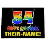 [ Thumbnail: 54th Birthday: Bold, Fun, Simple, Rainbow 54 Gift Bag ]