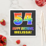 [ Thumbnail: 54th Birthday: Bold, Fun, Simple, Rainbow 54 Napkins ]