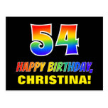 [ Thumbnail: 54th Birthday: Bold, Fun, Simple, Rainbow 54 Postcard ]