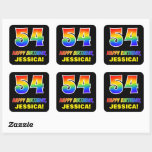 [ Thumbnail: 54th Birthday: Bold, Fun, Simple, Rainbow 54 Sticker ]