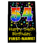 [ Thumbnail: 54th Birthday: Colorful Stars Pattern & Rainbow 54 Gift Bag ]