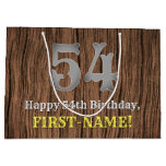 [ Thumbnail: 54th Birthday: Country Western Inspired Look, Name Gift Bag ]