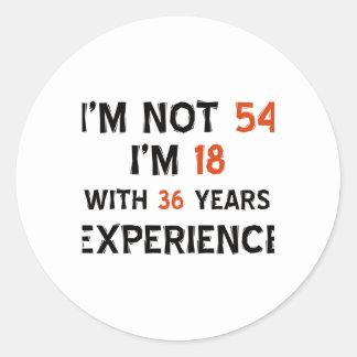 54th birthday designs classic round sticker