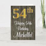 [ Thumbnail: 54th Birthday: Elegant Faux Gold Look #, Faux Wood Card ]