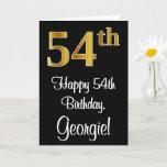 [ Thumbnail: 54th Birthday ~ Elegant Luxurious Faux Gold Look # Card ]