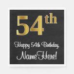 [ Thumbnail: 54th Birthday ~ Elegant Luxurious Faux Gold Look # Napkins ]