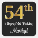 [ Thumbnail: 54th Birthday – Elegant Luxurious Faux Gold Look # Sticker ]