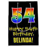 "[ Thumbnail: 54th Birthday: Fun, Bold, Colorful, Rainbow ""54"" Gift Bag ]"