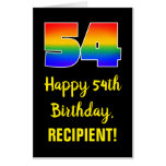 [ Thumbnail: 54th Birthday: Fun, Colorful, Happy, Rainbow # 54 Card ]