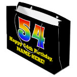 [ Thumbnail: 54th Birthday ~ Fun, Colorful, Vibrant, Rainbow 54 Gift Bag ]