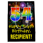 [ Thumbnail: 54th Birthday: Fun Fireworks Pattern + Rainbow 54 Gift Bag ]