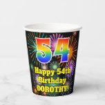 [ Thumbnail: 54th Birthday: Fun Fireworks Pattern + Rainbow 54 ]