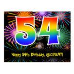 [ Thumbnail: 54th Birthday – Fun Fireworks Pattern + Rainbow 54 Postcard ]