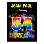 "[ Thumbnail: 54th Birthday - Fun Fireworks, Rainbow Look ""54"" Postcard ]"
