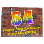 [ Thumbnail: 54th Birthday: Fun, Graffiti-Inspired Rainbow # 54 Gift Bag ]