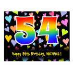 [ Thumbnail: 54th Birthday: Fun Hearts Pattern, Rainbow 54 Postcard ]