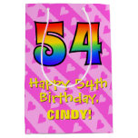 [ Thumbnail: 54th Birthday: Fun Pink Hearts Stripes; Rainbow 54 Gift Bag ]