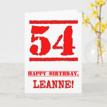 [ Thumbnail: 54th Birthday: Fun, Red Rubber Stamp Inspired Look Card ]