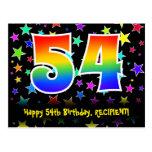 [ Thumbnail: 54th Birthday: Fun Stars Pattern, Rainbow 54, Name Postcard ]